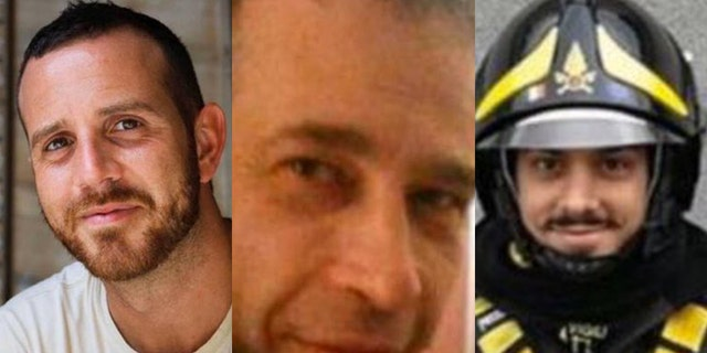 The three firefighters killed in an explosion last week were identified as (from left) Marco Triches, Matteo Gastaldo and Antonino Candido.