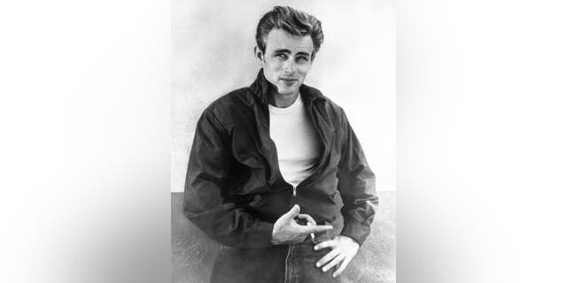 "Actor James Dean poses for a Warner Bros publicity shot for his film ""Rebel Without A Cause."""