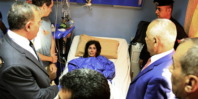 One of the victims of a knife attack in Jerash, Jordan on Wednesday. (AP)