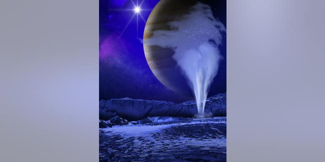 An artist's illustration of a plume of water vapor emanating from Jupiter's moon Europa. (NASA/ESA/K. Retherford/SWRI)