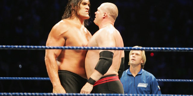 The Great Khali and ECW Champion Kane stare each other down during WWE Smackdown at Acer Arena on June 15, 2008 in Sydney, Australia. (Photo by Gaye Gerard/Getty Images)