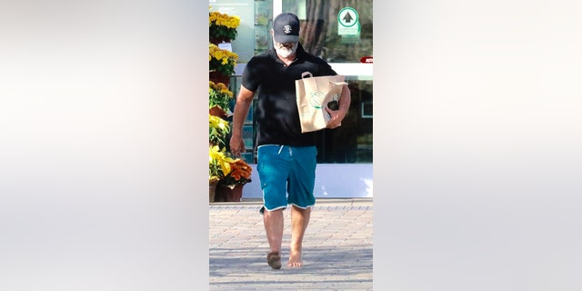 Filmmaker and actor Mel Gibson said no to his shoes as the star hit up Whole Foods to stock up on groceries in barefoot fashion on Monday, Nov. 19, 2019 in malibu, Calif.