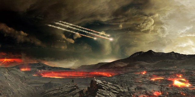 Artist's concept of meteors impacting ancient Earth. Some scientists think such impacts may have delivered water and other molecules useful to emerging life on Earth. (Credit: NASA's Goddard Space Flight Center Conceptual Image Lab)