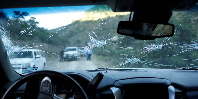 The interior of a bullet-riddled vehicle belonging to one of the Mexican-American Mormon families that were killed by unknown assailants, is pictured in Bavispe, Sonora state, Mexico November 5, 2019. REUTERS/Jose Luis Gonzalez -