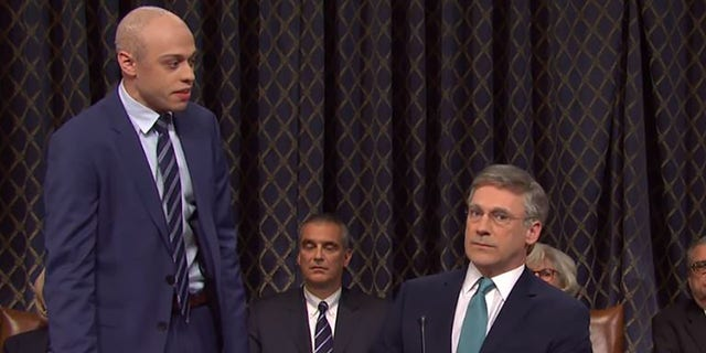 "Pete Davidson and John Hamm play Michael Avenatti and Ambassador Bill Taylor on ""Saturday Night Live."" (NBC)"