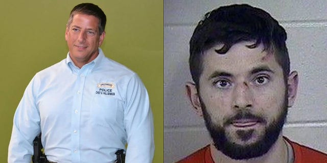 Former Greenwood Police chief Greg Hallgrimson (left) was indicted Wednesday for allegedly attacking Jonathon Zicarelli (right) while he was handcuffed.