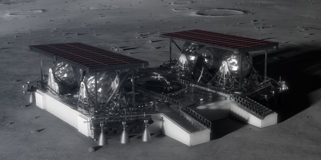 Illustration shows the mid-sized lander on the lunar surface. (Credit: NASA)
