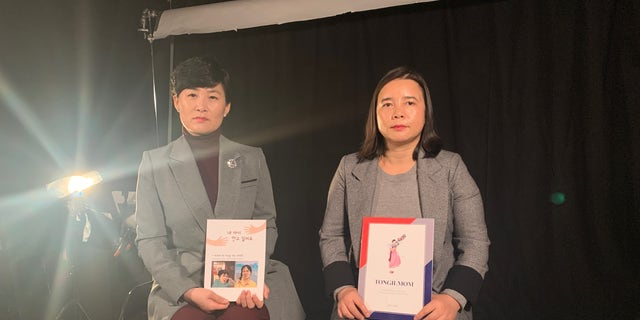 Kim Jeong Ah (left) and Son Myunghee (right) are defectors from North Korea and now part of the NGO Tongil Mom, based in South Korea, advocating for mothers forced to leave their children behind in North Korea and China.