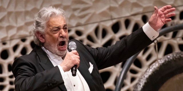 Opera star Placido Domingo performs during a concert at the Elbphilharmonie in Hamburg on Wednesday, 27, 2019. (Christian Charisius / dpa via AP)