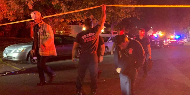 emergency responders at the scene of the Sunday night shooting in Fresno, California (FOX 26 from Fresno)