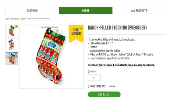 The 15-by-7-inch stocking is only currently available for preorder for $35 on the company's website.