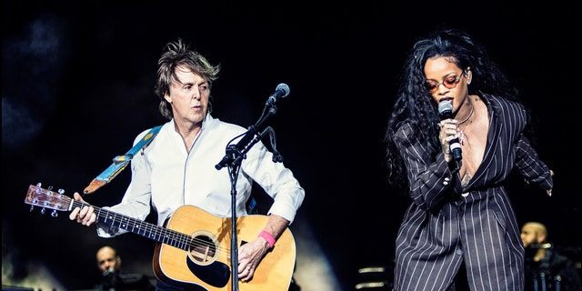 Paul McCartney (L) and Rihanna perform on Day 3 of Desert Trip Weekend 2 at the Empire Polo Field on October 15, 2016 in Indio, California.