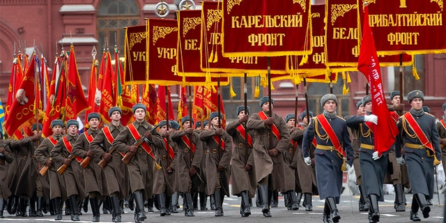 The original Nov. 7, 1941 parade saw Red Army soldiers move directly to the front line in the Battle of Moscow, becoming a symbol of Soviet valor and tenacity in the face of overwhelming odds. (AP)