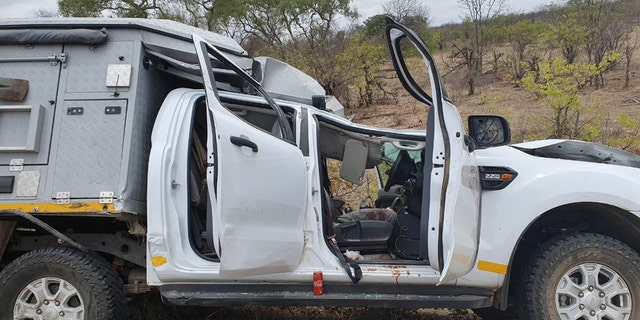 A tourist from Switzerland died after his rental safari vehicle was crushed by a giraffe that was struck by another vehicle on Saturday.