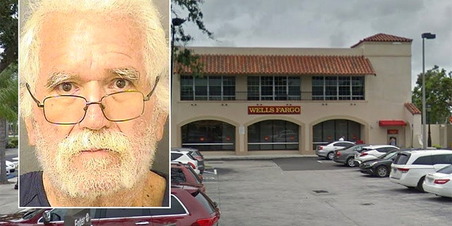 Sandy Hawkins, 73, was charged with robbery after he allegedly demanded a Wells Fargo bank teller give him exactly $1,100.