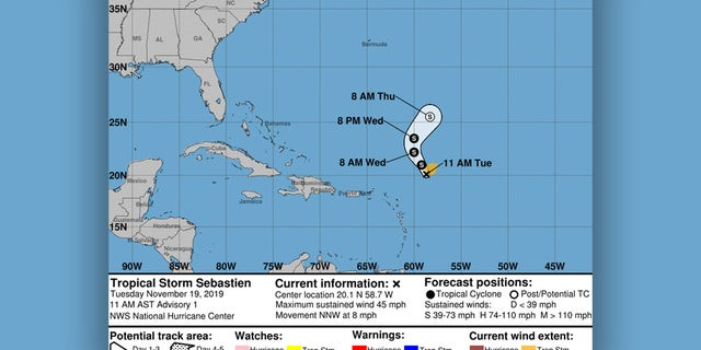 Tropical Storm Sebastien forms in the Atlantic, forecast to stay over ocean