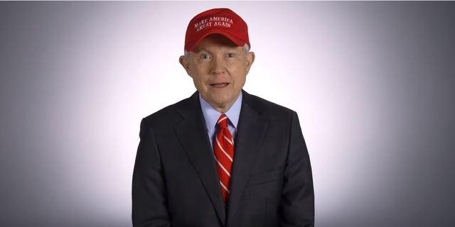 Jeff Sessions dons a MAGA cap in a new campaign ad.