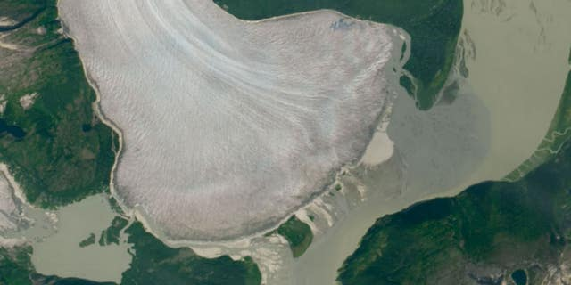 Fragmentation of ice and receding snow line reveals that Taku Glacier finally succumbs to climate change in this satellite image, clicked in August 2019.