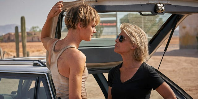 This picture, published by Paramount Pictures, features Mackenzie Davis on the left and Linda Hamilton in