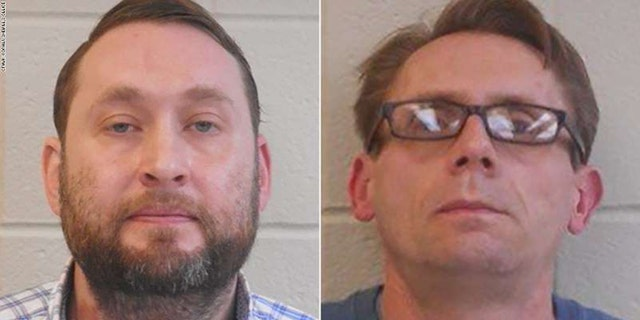 Mugshots for Bradley Rowland, 40, left, and Terry Bateman, 45, chemistry professors at Henderson State University in Arkansas.