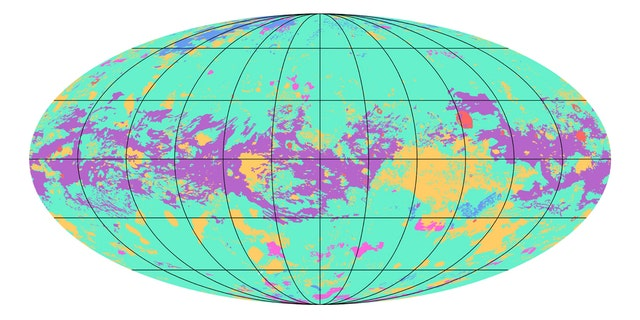 The first global geologic map of Titan is based on radar and visible-light images from NASA's Cassini mission, which orbited Saturn from 2004 to 2017. Labels point to several of the named surface features.
