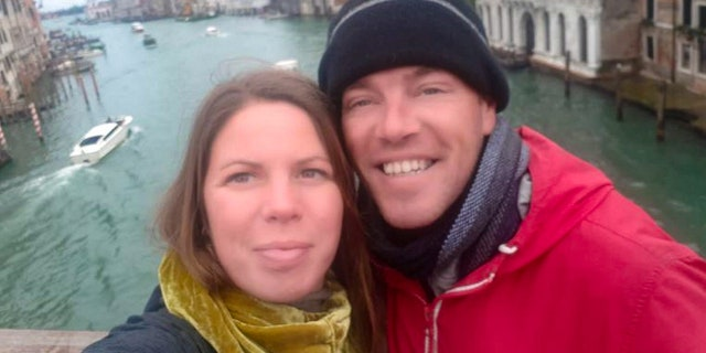 Elizabeth Dale and partner Richard Williams just after arriving in Venice.