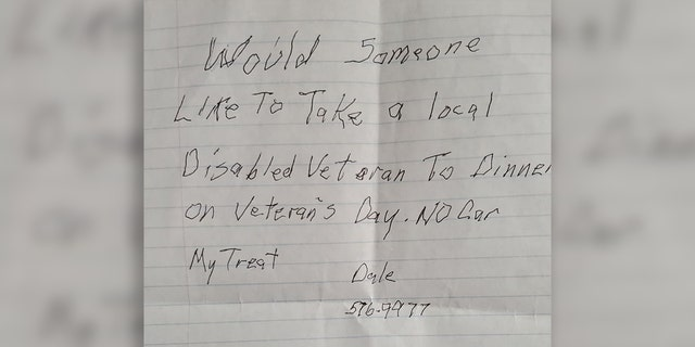 Flowers left a note at Judy and Heather's Barbershop, asking if anyone would like to share a meal on Veterans Day.