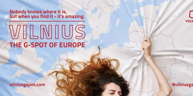 A cheeky X-rated advertisement for little-visited Vilnius, the capital of Lithuania, won an International Travel & Tourism Gold Award this week presented by World Travel Market London.