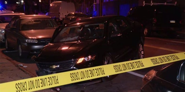 A 22-year-old man and a 20-year-old woman reportedly were shot while sitting in a car in Philadelphia's Germantown neighborhood. The man was said to have driven off before crashing into parked cars.