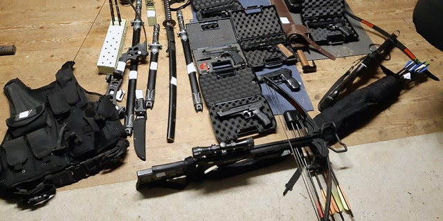 Some of the weapons and other items seized in the raids.