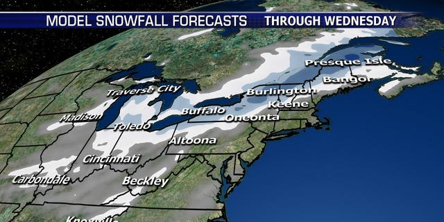 Several inches of snow are forecast to fall from the Plains into the Northeast.
