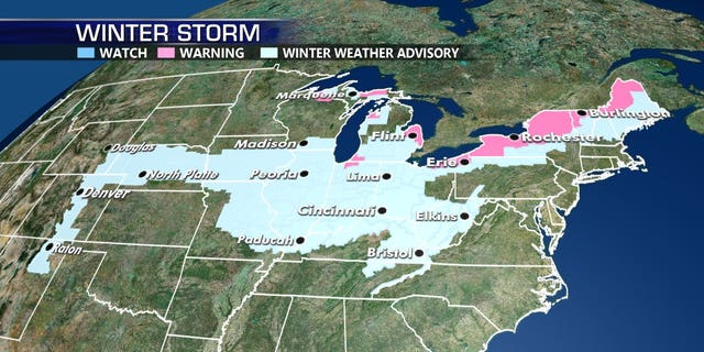 Winter weather advisories stretching from the Plains into the Northeast, impacting up to 60 million people.
