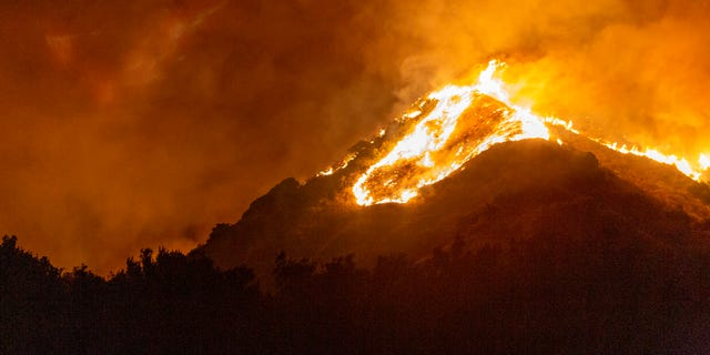 The Maria Fire burns on a hillside as it expands up to 8,000 acres on its first night on November 1, 2019 near Somis, California. (Photo by David McNew/Getty Images)