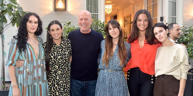 Rumer Willis, Demi Moore, Bruce Willis, Scout Willis, Emma Heming Willis and Tallulah Willis attend Demi Moore's 'Inside Out' Book Party on September 23, 2019 in Los Angeles, California.