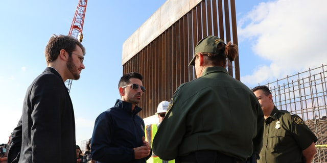 Acting DHS Secretary Chad Wolf tours new border wall construction in Texas. (Adam Shaw/Fox News)
