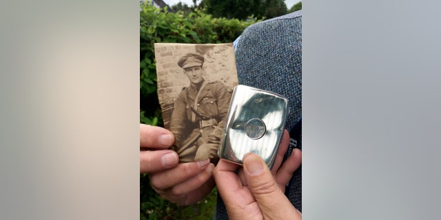 Second Lieutenant William Lytle, aged 22, in France and the cigarette case. (Credit: SWNS)