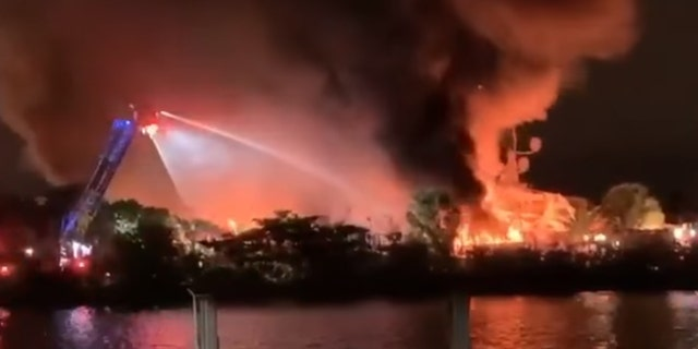 Sixty firefighters and three fireboats battled the yacht blaze for five hours, officials said.