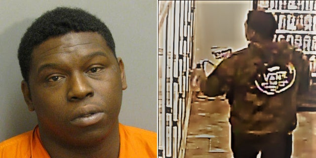 An undated mugshot provided by the Auburn Police Department shows Yazeed after police identified him from video surveillance (right) taken from inside a convenience store on South College Street on Oct.23.