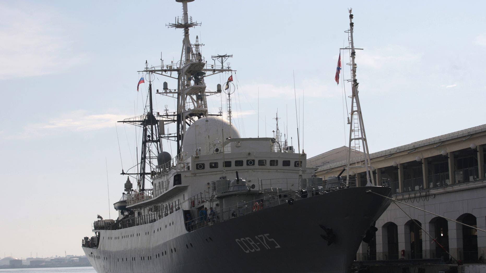 The Russian spy ship Viktor Leonov in 2014 (Reuters)