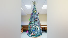 Airport creates Christmas tree out of confiscated items to 'send an educational message' to passengers
