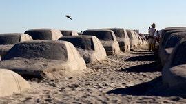 Million-dollar 'traffic jam' created from sand on Miami Beach