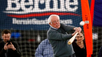 Bernie Sanders takes swings at batting practice, makes pitch for minor-league teams