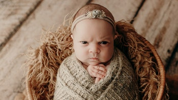 Newborn's 'mean-mugging' during photo shoot goes viral