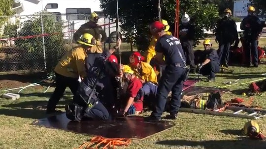 California firefighters rescue man, 87, who fell down 25-foot well