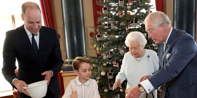 Queen Elizabeth, Prince Charles, Prince William and Prince George preparing special Christmas puddings.