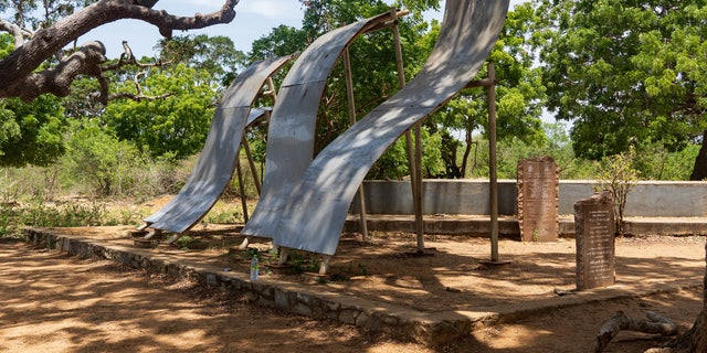 This crude memorial was erected at the site where the 2004 'Boxing Day' Tsunami made landfall at Yala National Park in southern Sri Lanka.Each curved metal column represents the number of seismic waves that crashed ashore.