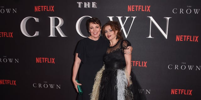 "Olivia Colman and Helena Bonham Carter attend the premiere of  ""The Crown"" Season 3 at The Curzon Mayfair in London, England."