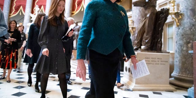 House Speaker Nancy Pelosi, D-Calif., walks to attend a health care event at the Capitol in Washington, Dec. 11, 2019. (Associated Press)