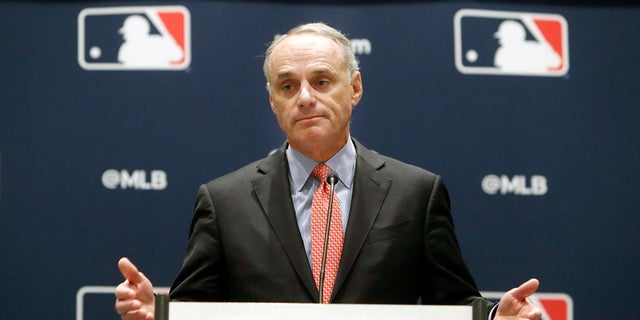 MLB commissioner Rob Manfred at the owners meeting in Arlington, Texas last month (AP Photo/LM Otero)