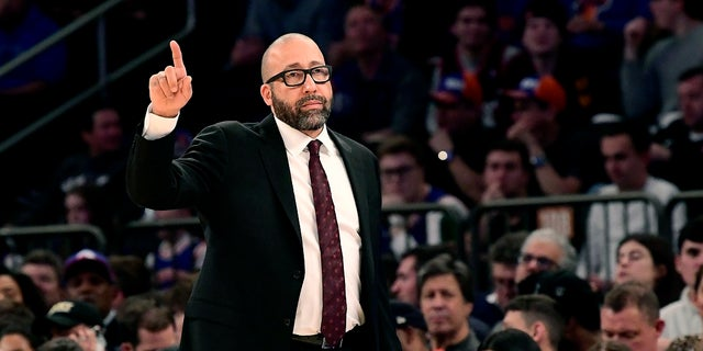 New York Knicks coach David Fizdale reacts during the first half of the team's NBA basketball game against the Philadelphia 76ers on Friday, Nov. 29, 2019, in New York. Fizdale was fired after back-to-back blowout losses, according to media reports. (AP Photo/Steven Ryan)